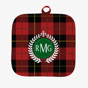Festive Red Plaid Personalized Pot Holder