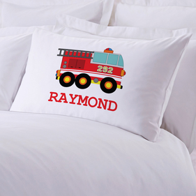 Fire Engine Personalized Kids Pillowcase