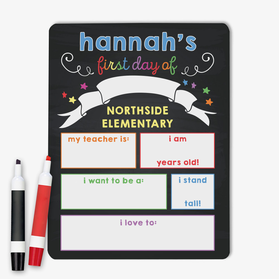 First Day Personalized Kids Dry Erase Board Sign