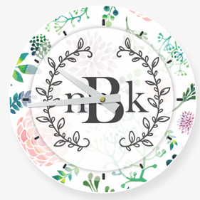 Floral Monogram Vine Wall Clock