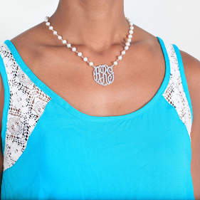 Fresh Water Pearls Necklace with Silver Monogram Pendant