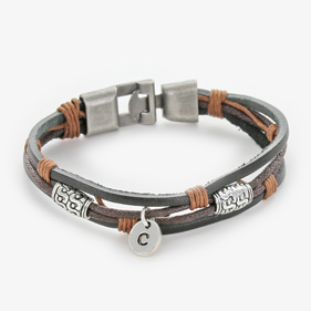 Genuine Leather Antique Metal Finish Custom Charm Bracelet