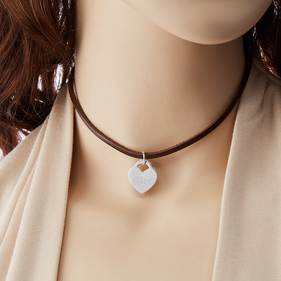 Genuine Leather Choker with Custom Monogram Heart Charm