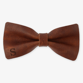 Genuine Leather Customized Initial Bow Tie