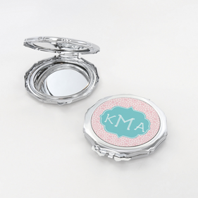 Geometric Design Monogram Flower Shaped Compact Mirror