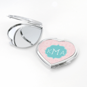 Geometric Design Monogram Heart Shaped Compact Mirror