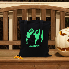 Ghoulish Ghosts Glow In The Dark Custom Black Cotton Tote Bag