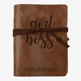 Girl Boss Custom Genuine Leather Wrap Journal