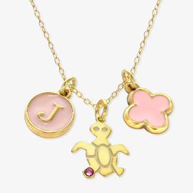 Girls Turtle Personalized Charm Necklace
