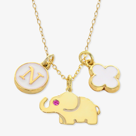 Girls Gold Tone Elephant Personalized Charm Necklace