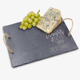 Give Thanks & Eat Pie Custom Slate Tray w/ Jute Hanger