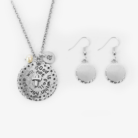 God Is Within Her Initial Silver Charm Necklace w/ Earrings