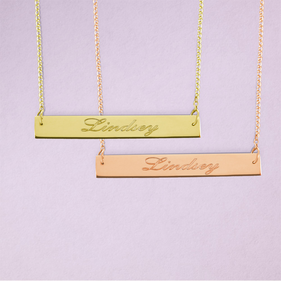 Name Bar Necklace in Yellow or Rose Gold over Silver - Name Engraved in Script