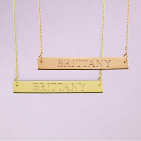 Name Bar Necklace in Yellow or Rose Gold over Silver - Name Engraved in Block