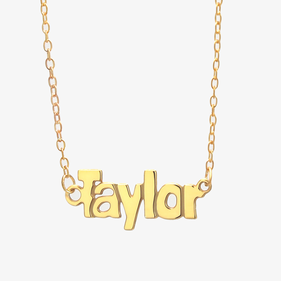 Yellow or Rose Gold over Silver Block Letter Name Necklace Taylor Style