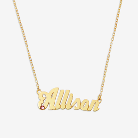 Gold over Silver Custom Name Necklace w Birthstone