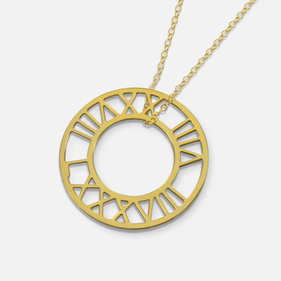 Gold over Silver Cut out Roman Numerals Disk Necklace