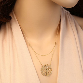 Gold over Silver Double Layer Monogram Necklace