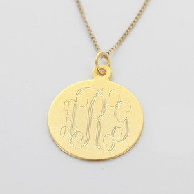 Yellow or Rose Gold over Silver Engraved Monogram Disk Necklace
