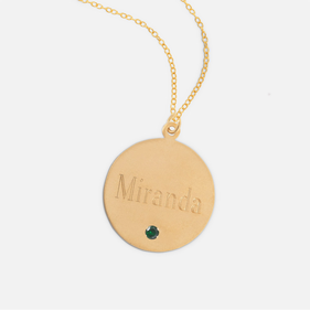 Gold over Silver Engraved Name Necklace in Block Lettering with Birthstone
