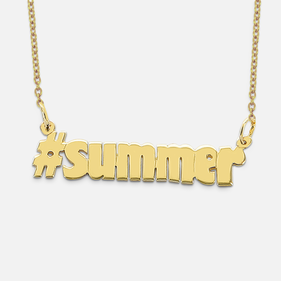 Gold over Silver # Hashtag Necklace
