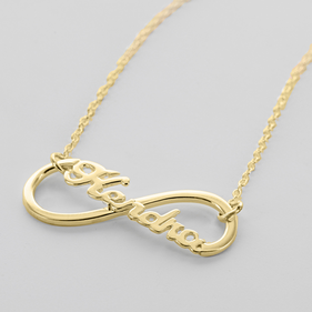 Gold over Silver Infinity Name Necklace