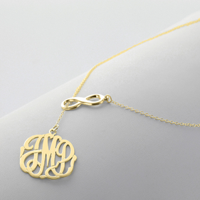 Gold over Silver Infinity Necklace with Monogram Pendant