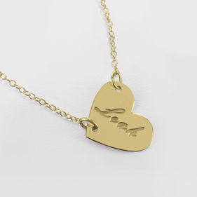 Gold over Silver Mini Heart Name Necklace