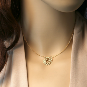 Gold Over Silver Mini Monogram Choker Necklace