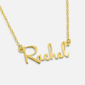 Yellow or Rose Gold over Silver Mini Script Name Necklace Rachel Style