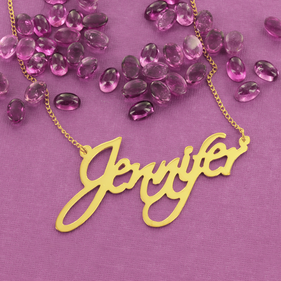 Yellow or Rose Gold over Silver Modern Signature Name Necklace Jennifer Style