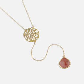 Gold over Silver Monogram Lariat Gemstone Necklace