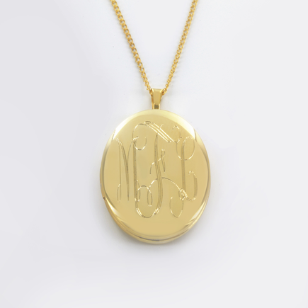 Gold over Silver Monogram Locket Necklace Personalized With Monogram