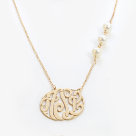 Yellow or Rose Gold over Silver Monogram Necklace w/ Fresh Water Pearls