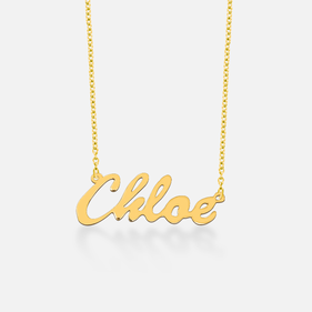 Yellow or Rose Gold over Silver Name Necklace Chloe Style