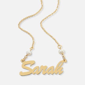 Yellow or Rose Gold over Silver Name Necklace with Pearls Sarah Style