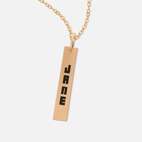 Yellow or Rose Gold over Silver Personalized Bar Name Necklace in Block Lettering