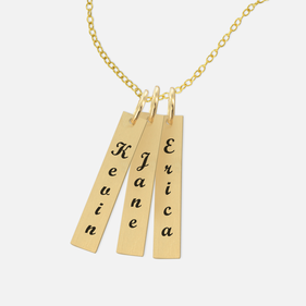 Yellow or Rose Gold over Silver Personalized Bar Name Necklace in Script