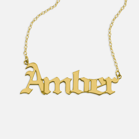 Gold over Silver Personalized Gothic Name Necklace
