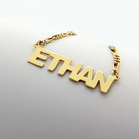 Gold over Silver Personalized Name Necklace for Man