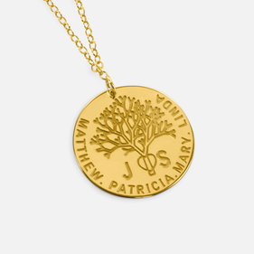 Gold over Silver Personalized Oak Tree Family necklace