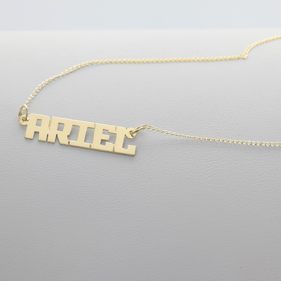 Yellow or Rose Gold over Silver Small Block Letter Name Necklace Ariel Style