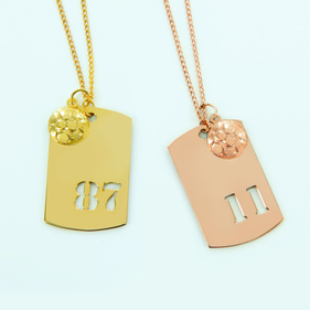 Gold Over Silver Sports Charm With Soccer Ball Pendant Personalized With Cutout Numbers