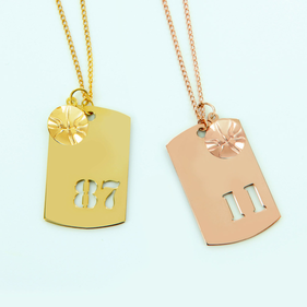 Gold Over Silver Sport Necklace w/ Small Basketball Charm Personalized w/ Cutout Numbers