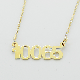 Gold over Silver Zip Code Necklace
