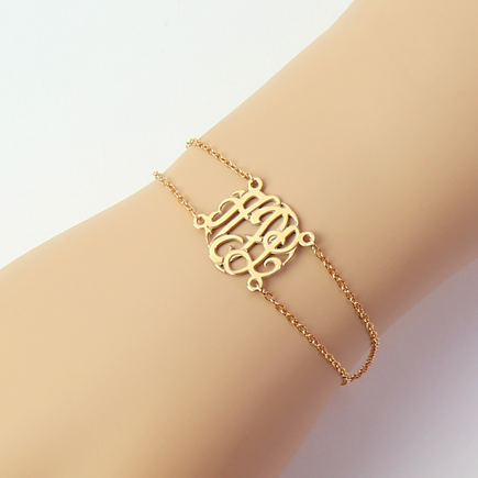 Gold Over Sterling Silver Double Chain Monogram Bracelet