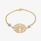 Gold Over Sterling Silver Monogram Pearl Bracelet