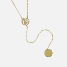 Gold Plated Monogram Lariat Necklace