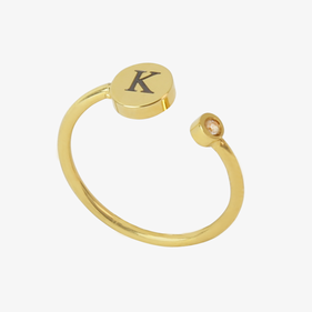 Gold Stainless Steel Personalized Adjustable Disk Ring