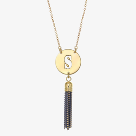 Gold Tone Initial Necklace with Tassel